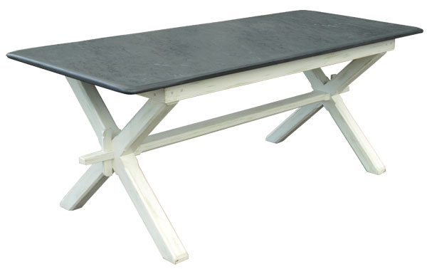 Shabby Chic Refectory Table With Slate Top